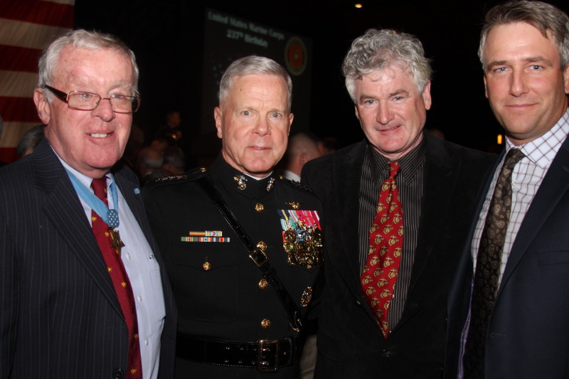 L to R: Congressional Medal of Honour recipient Thomas Kelley; Commandant of the Marine Corps, General James F. Amos;Ted Williams Globe and Anchor Award recipient John McDermott; and Co-Founder and Vice Chair, True Patriot Love Foundation, Michael Burns.